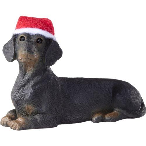 Sandicast Black Dachshund with Santa Hat Christmas Ornament