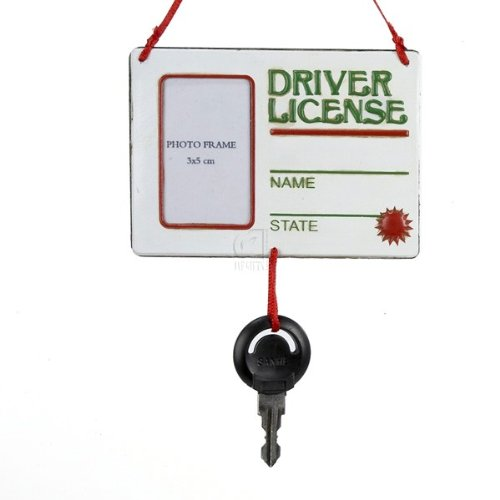 """""""Driver License"""" Picture Frame With Key Ornament For Personalization"""
