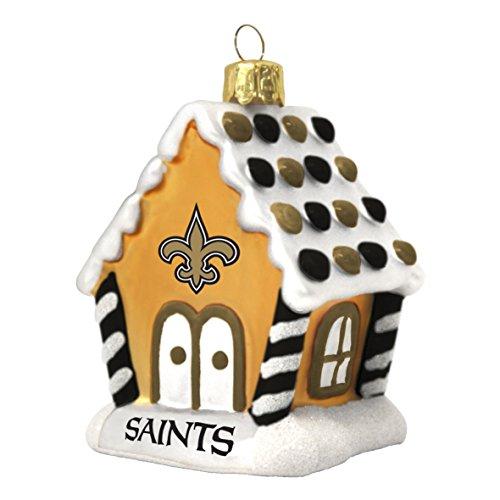 New Orleans Saints NFL Blown Glass Gingerbread House Ornament