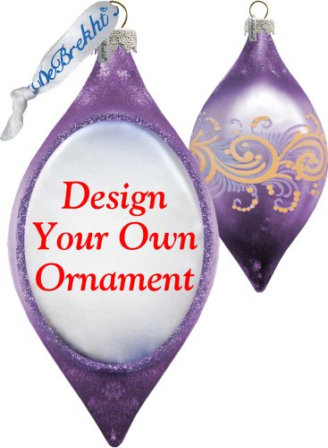 Personalize your photo on Original Handcrafted GLASS Ornament (DROP in GREY/LAVENDER)