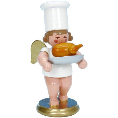 """31225 – Christian Ulbricht Ornament Angel Cook w/Roasted Goose – 3″""""H x 1.5″""""W x 2″""""D"""