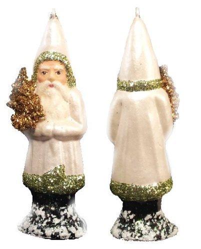 Ino Schaller Paper Mache Santa in Pearl White Coat Christmas Ornament