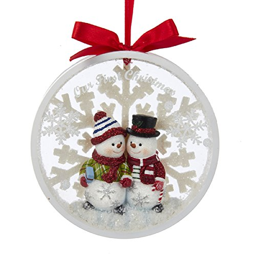 Kurt Adler Snowman Couple Our 1st Christmas Together Disc Ornament – C8890
