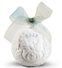 2015 Lladro Porcelain Annual Ball Christmas Ornament Original Blue Finish