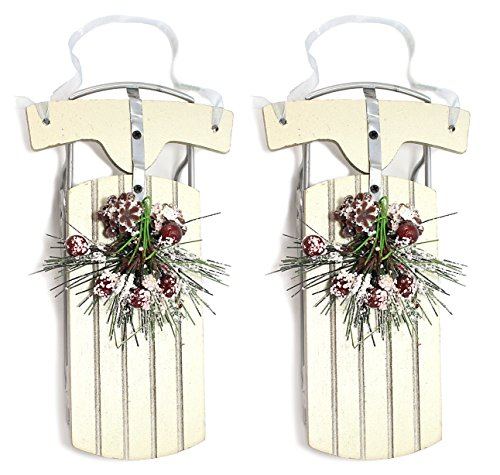 Holiday Lane Set of 2 Wood & Metal Sled with Holly & Leaf Accent Christmas Ornaments