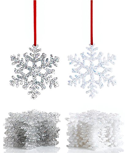 Holiday Lane Christmas Ornaments, Set of 12 White Plastic Snowflake Ornaments