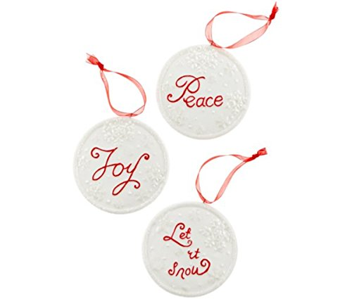 Holiday Lane Set of 3 Word Disk Ornaments