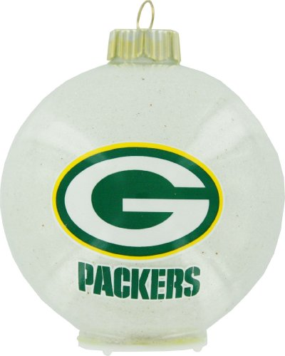 NFL Green Bay Packers LED Color Changing Ball Ornament, 2.625″, White