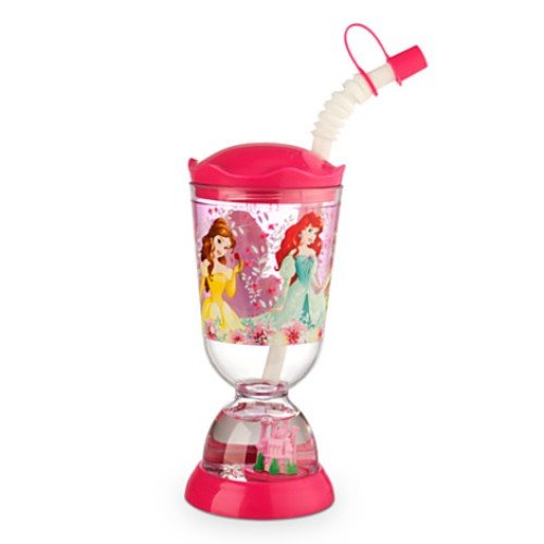 Disney Princess Snowglobe Tumbler Rapunzel, Belle, Arial, Tiana, and Cinderella with Straw By 5starservice