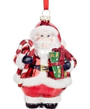 Holiday Lane Santa with Present Ornament