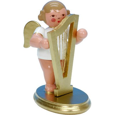 "31301 – Christian Ulbricht Ornament Angel musician with harp – 2.5″""H x 1.5″""W x 2.5″""D"
