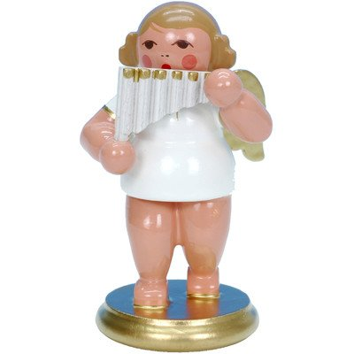 "31317 – Christian Ulbricht Ornament Angel musician with panpipes – 2.5″""H x 1.5″""W x 1.5″""D"