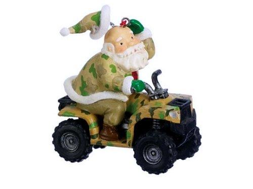 Santa Hunter on ATV Christmas Ornament