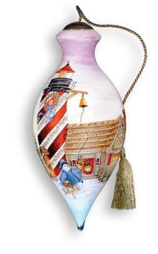 Ne'Qwa Art Lighthouse – Glass Ornament Hand-Painted Reverse Painting Distinctive 159-NEQ