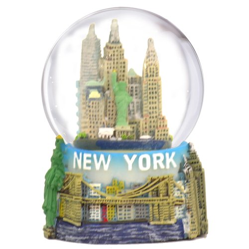 New York City Snow Globe Featuring the NYC Skyline in this Souvenir Figurine with Statue of Liberty, 2.5″ Tall (45mm)