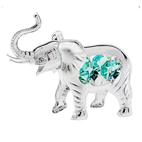 Elephant Silver Plated Swarovski Crystal Tabletop Statue Ornament Figurine