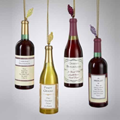 ACRYLIC WINE BOTTLE ORNAMENT SET OF 4