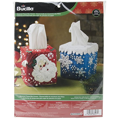 Bucilla Seasonal Tissue Box Covers Felt Applique Kit-4-1/2″X4-1/2″ Set Of 2