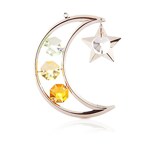 Silver Plated Moon & Star Ornament Made with Swarovski Elements Crystals By Charming Temptations
