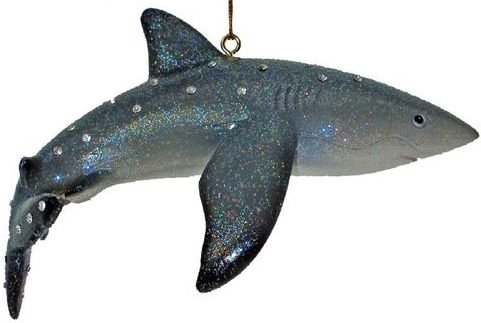 December Diamonds Discontinued Aquatic Collection Reef Shark Ornament is embellished with Clear Rhinestones & Sparkles.