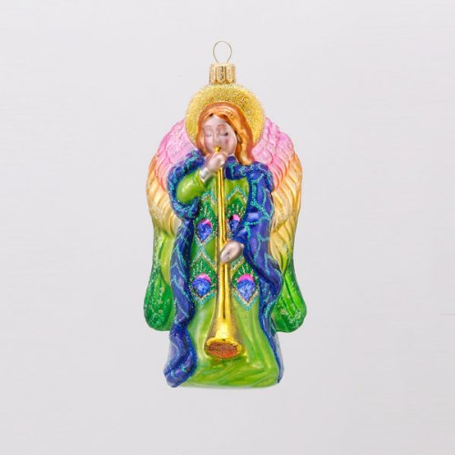 David Strand Designs Glass Heavenly Music Peacock Angel Christmas Ornament 6″