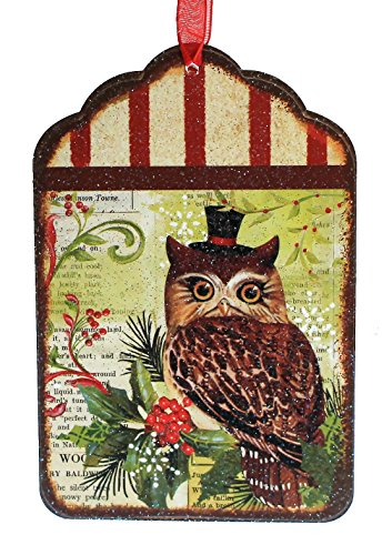 Holiday Lane Vintage-Style 6-inch Tin Tag Christmas Ornament with Woodland Owl Print