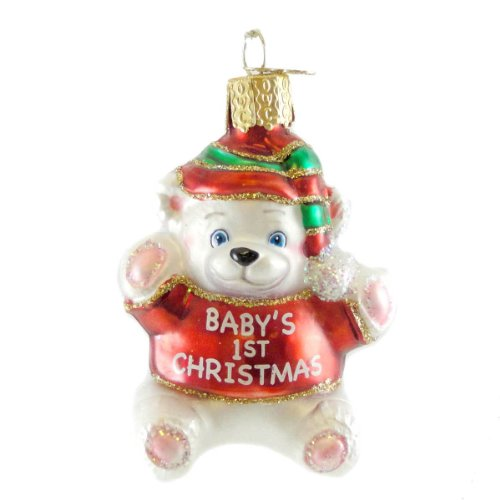 Old World Christmas Ornament Baby's First Christmas Teddy Bear Red-Green