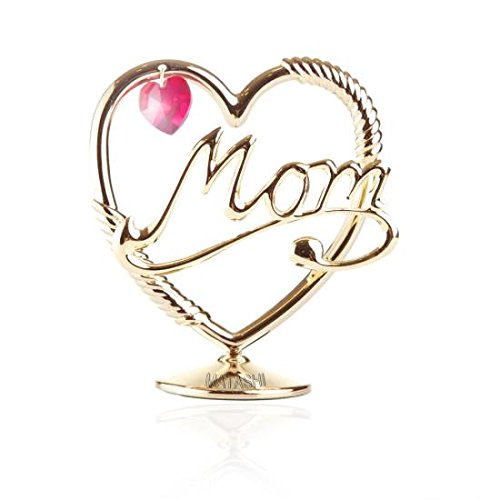 Beautifully Crafted 'Mom in a Heart' Table Top Ornament Dipped in 24k Gold Plating with Swarovski Spectra Crystals By Charming Temptations