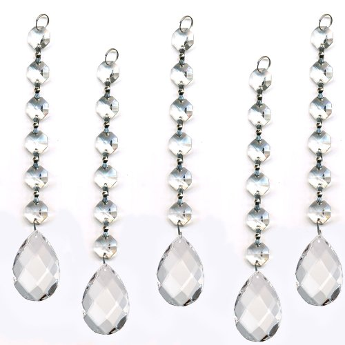 CrystalPlace Ornament Diamond Hanging Crystal Garland Wedding Strand with Almond Pendant Accent Made with Magnificent Crystal