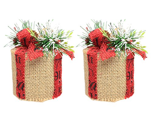 Holiday Lane Set of 2 Round Burlap Box Christmas Ornaments with Holly & Pine Accents