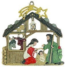 Nativity with Animals German Pewter Christmas Ornament