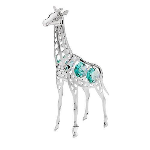 Giraffe Silver Plated Swarovski Crystal Tabletop Statue Ornament Figurine