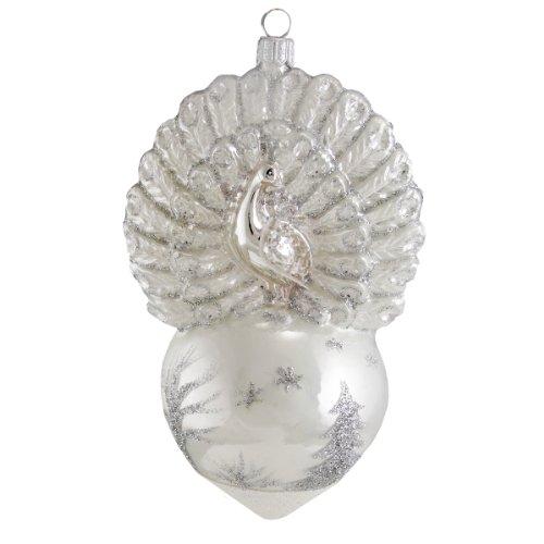 David Strand Designs Glass Proud Peacock Winter Scene Christmas Ornament 6.5″