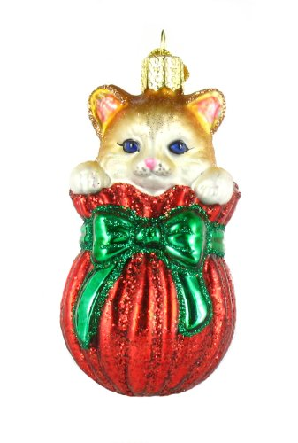 Old World Christmas Letting The Cat Out Of The Bag Glass Ornament