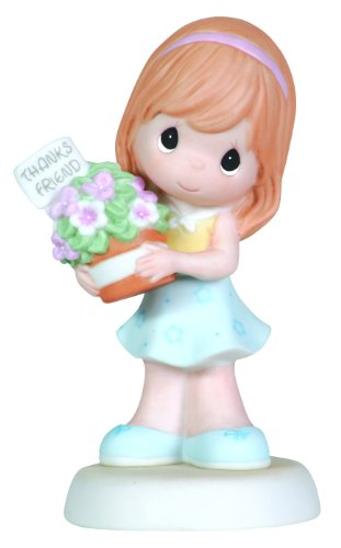 """Precious Moments Girl With Flower Basket Figurine """"Thank You For Being A Friend"""""""