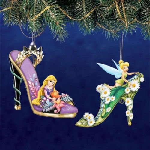 Disney Once Upon A Slipper Ornament #9 Bradford Exchange Ornament Set