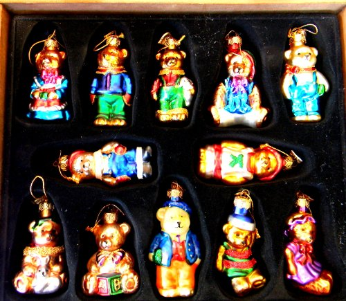 Thomas Pacconi Classics 2002 Collection of 12 Blown Glass Bears Ornaments