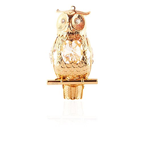 24k Gold Plated Highly Polished Owl Ornament Made with Swarovski Elements Crystals By Charming Temptations