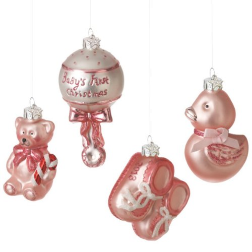 4 Pc Blue Baby Girl First Christmas Glass Ornament Gift Set