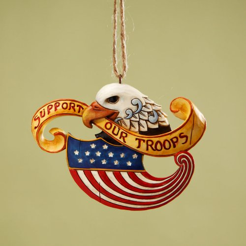 Jim Shore Heartwood Creek Eagle with Yellow Ribbon and American Flag, Support Our Troops, Hanging Ornament, 2-3/4 Inches