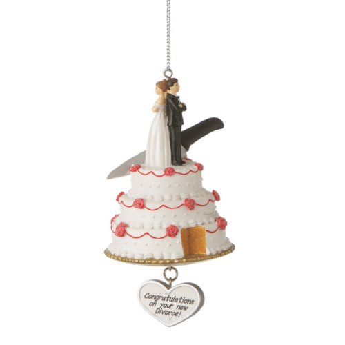 "Humorous Wedding Cake with ""Congratulations on Your New Divorce"" Christmas Ornament"