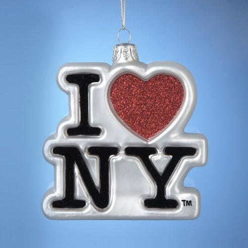 I Love New York Kurt Adler Glass Ornament, 3.75-Inch