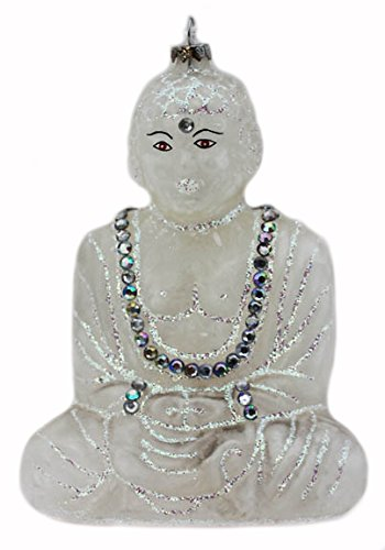 Buddha Ornament – Frosted with Rhinestones and Silver Glitter!