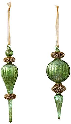 Sage & Co. XAO16767AQ 7.5″ Beaded Finial Ornament