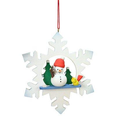 "10-0553 – Christian Ulbricht Ornament – Snowman in Snowflake – 3.5″""H x 3″""W x 1″""D"
