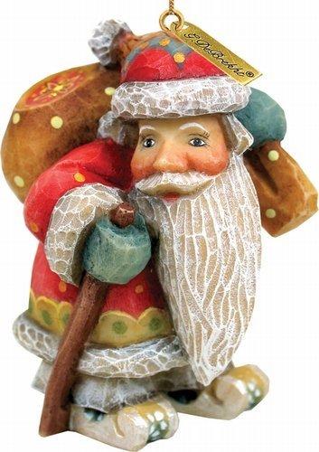 G. Debrekht Downhill Santa Ornament, 3-Inch
