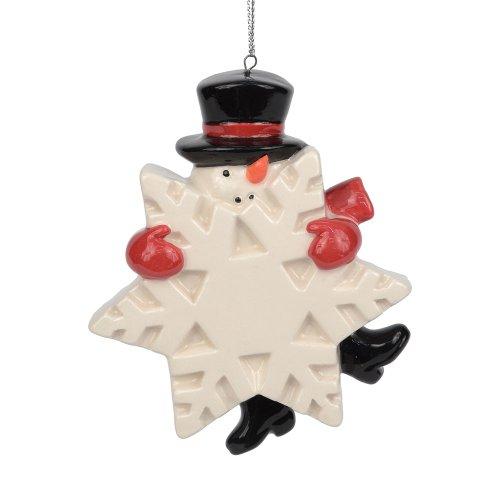 Department 56 Dear Santa Christmas Décor Snowman with Snowflake Ornament, 3.75-Inch