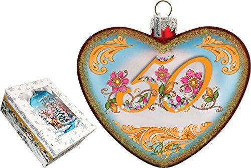G. Debrekht 50Th Anniversary Heart Glass Ornament
