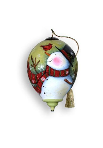 """Ne'Qwa Ornament """"Cardinal Snowman"""", 3-Inches Tall, Designed by noted artist Susan Winget"""