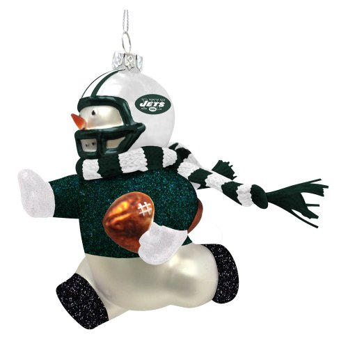 New York Jets Glass Snowman Player Christmas Ornament